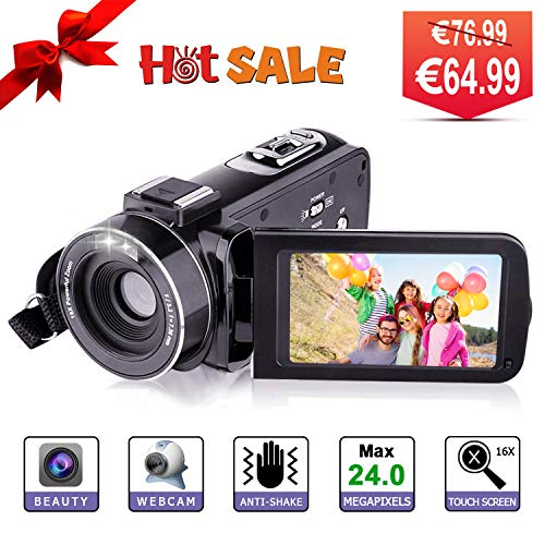 Videocámara Full HD Cámara Digital Vídeo- YUNDOO Cámara Full HD 1080p 30FPS 24.0MP Videocámara, 3.0 Pulgadas LCD de 270 Grados Pantalla giratoria 16X Zoom Digital Youtube Cámara de Video