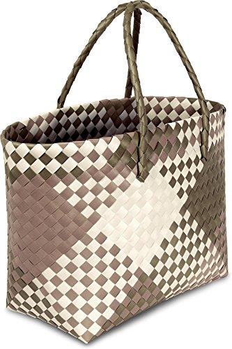 Einkaufstasche geflochten mit Henkeln - Tragetasche extra robust Retro Block / Brown