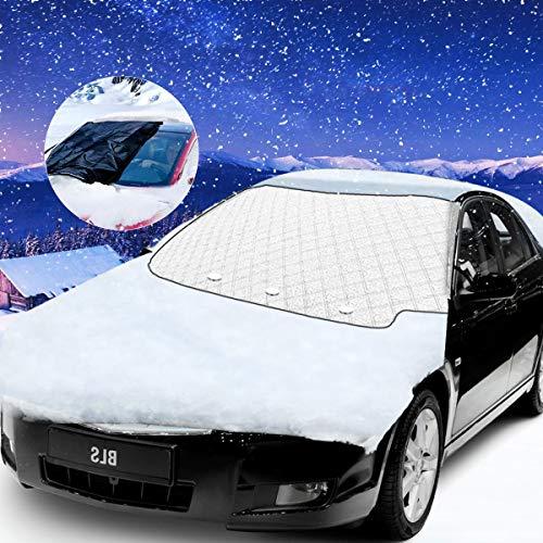 Bigmeda Auto Frontscheibe, Frostschutz Magnet Scheibenabdeckung Faltbare Autoscheibenabdeckung Winter Windschutzscheibenabdeckung Eisschutz Frontscheibenabdeckung für Auto (147x116cm)