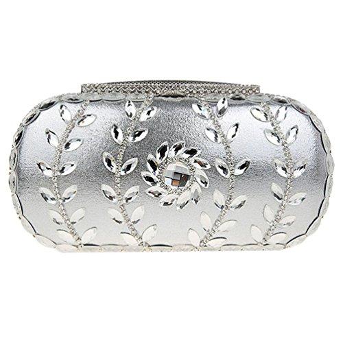 KAXIDY Damen Luxus Abendtasche Handtasche Unterarmtasche mit elegant Funkelndem Strassbesatz (Lila) Silber