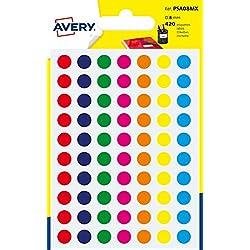 Avery PSA08MX Etui de 420 Pastilles diamètre 8 mm A6 Couleur Assorties