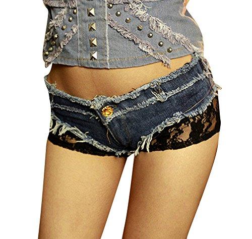 Donna Pizzo Uncinetto Nappa Vita Bassa Jeans Shorts Distressed Pantaloni Hot Pants Blu S