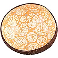 100% Natural Dorado Natural Coconut Shell Paint Bowl Ornamento Creativo del Almacenaje del Cuenco Artesanía Decoración Del Coconut Bowl Original De Coco Tazón (Naranja)
