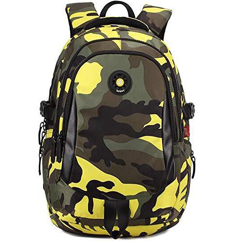 C-Xka Grundschüler Camouflage Printed Schultasche Nylon Rucksack Unisex Outdoor Travel Daypack (Farbe : Gelb, größe : L)