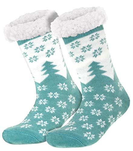 style3 Compagno warme Kuschelsocken mit ABS Anti Rutsch Sohle Wintersocken Herren Damen Socken 1 Paar Einheitsgröße, Farbe:Tannen Mint