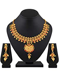 Spargz Traditional Peacock Gold Plated Ruby Choker Style Necklace Set For Women AINS_413
