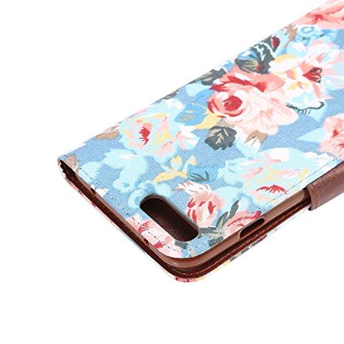Voguecase® Pour Apple iPhone 7 Coque, Étui en cuir synthétique chic avec fonction support pratique pour Apple iPhone 7 (Cheval fou motif-Rouge-Marron)de Gratuit stylet l'écran aléatoire universelle fleur colorée / bleu