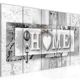 Bilder Home Wandbild 200 x 80 cm - 5 Teilig Vlies - Leinwand Bild XXL Format Wandbilder Wohnzimmer Wohnung Deko Kunstdrucke Grau - MADE IN GERMANY - Fertig zum Aufhängen 013755c