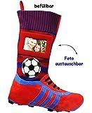 alles-meine.de GmbH 3 Stück _ XL Foto _ Filzstrümpfe -  3-D Effekt - Fußballschuhe - ROT / BLAU - mit austauschbaren Foto  - 45 cm - Fotosocke - Deko - Stollenschuhe auch als W..