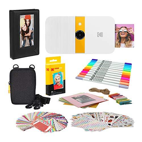 KODAK Smile Sofortdruck-Digitalkamera (Weiß/Gelb) Bilderrahmen-Bundle mit weicher Tasche