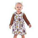 Infant Baby Mädchen Langarm Print Kleid Outfits Set Erntedankfest Kürbis Kleid