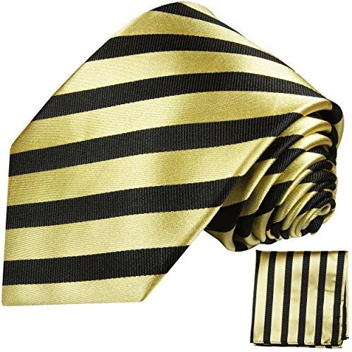 Cravate homme or noir rayé ensemble de cravate 2 Pièces ( longueur 165cm )