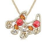 WUFANGFF Kristall Halskette Damen Schmuck Geometrische Modellierung Minimalistische Mode, Seerose Champagne Gold