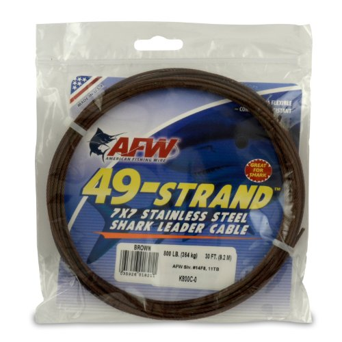 American Fishing Wire 49-Strand Cable Bare 7x7 Stainless Steel Leader Wire, Camo Brown Color, 800 Pound Test, 30-Feet
