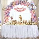 Meng Shop Decorazioni per feste Tutu Tulle Gonna da tavolo adatto per feste feste di matrimonio Princess Party Decor, Baby & Girls Preferiti-Free catena di carta fiori (bianco)