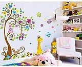 ufengke® Albero Fiore Colorato Simpatici Gufi Leone Cervo Adesivi Murali, Camera dei Bambini Vivai Adesivi da Parete Removibili/Stickers Murali/Decorazione Murale