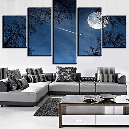 mmwin HD Gedruckt 5 Stücke Nachthimmel Falling Star Leinwand Wandkunst Bild Home Decoration Wohnzimmer Leinwand Decor