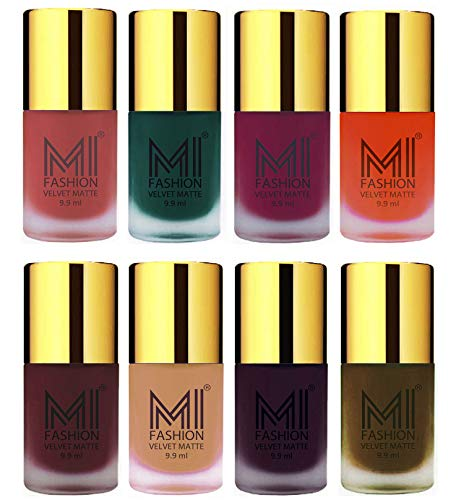 Matte Nail Polish Combo by MI Fashion- Light Peach,Dark Green,Magenta,Orange,Red Wine,Nude,Dark Purple,Olive Brown Velvet Dull Matte Nail Paint in Wholesale Rate – 9.9ml each