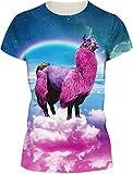 TDOLAH Damen Sommer Shirt Bluse 3D Print Kurzarm Design Tops Hemd T-Shirt (Größe M, Katze und Pizza)