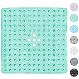 Alfombra Antideslizante de Baño, Domowin Alfombra para Bañera antideslizante Alfombrilla de Baño con 159 Potentes Ventosas para Cuarto de Baño 53 x 53 CM (Transparente Verde)