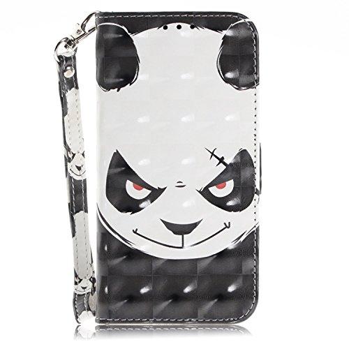 vingarshern Hülle für DOOGEE Y300 Schutzhülle Etui Tasche Klappbares Magnetverschluss Lederhülle Flip Case Handytasche Doogee Y300 Hülle Leder Brieftasche MEHRWEG(Panda-1)