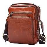 BISON DENIM Herren Leder Schultertasche Reisetasche Kleine Umhängetasche Handtaschen (Brown/W2333-1Z)
