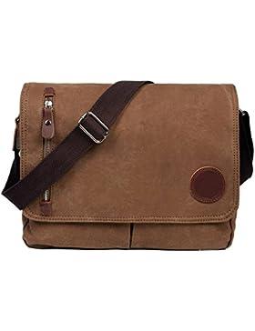 VRIKOO Vintage Canvas Satchel Messenger Bags Military Shoulder Crossbody Bag for Men Women
