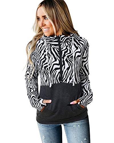 Aliling Damen Hoodies Kapuzenpullover Langarm Sweatshirt Halber Reißverschluss mit Taschen Karierter Hoodie Zebra XXL -
