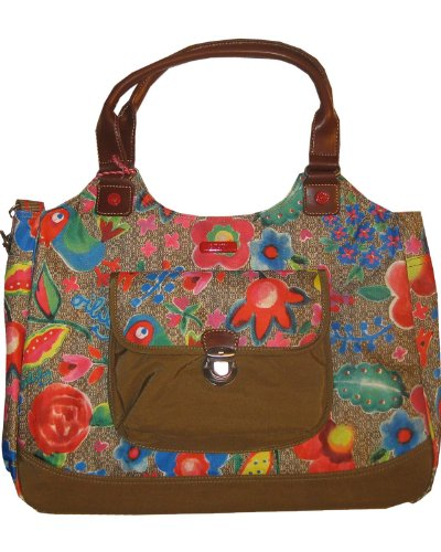 Oilily Funky Flowers Carry All Khaki - Funky Flower Handtasche
