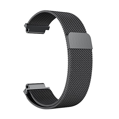 Huhu833 für Garmin Vivoactive Acetate Armband, 20 MM Rostfreier Stahl Mailänder Schleife UhrBand Uhrenarmband Ersatzarmband Strap für Garmin Vivoactive Acetate 145-225MM (Schwarz)