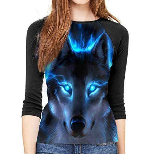 Henrnt Damen Bluse 3/4 Arm T-Shirt Bluse Top The Blue Wolf Print T-Shirt Casual Crew Neck Tops Tee