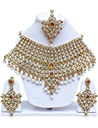 Lucky Jewellery Gold White LCT White Bridal Dulhan Wedding & Engagement Necklace Set With Mang Tikka For Women
