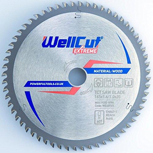 Preisvergleich Produktbild WELLCUT Kreissägeblatt Top Qualität Sägeblatt für Winkelschleifer für Holz Trennscheiben Kreissägeblatt 165 x 20 mm 60 Zähne passend für Bosch, Festool, Metabo etc