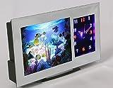 PREMIUM Hochwertige Aquariumleuchte mit Uhr (analog) 3D Effekt - LED Aquariumlampe Dekolampe Dekoleuchte Deko Aquarium Bewegliche Fische Tischlampe Einschlafhilfe Nachtlicht Nachtleuchte Effektleuchte