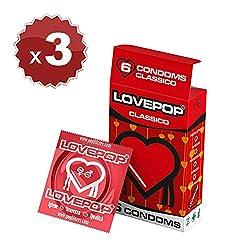 18 preservativos Love Pop, clásico 3 cartones de 6 piezas de condones, preservativos clásicos de diámetro 54 mm, condón… 3 Sexo seguro, condones y contenido erótico | Más de condones