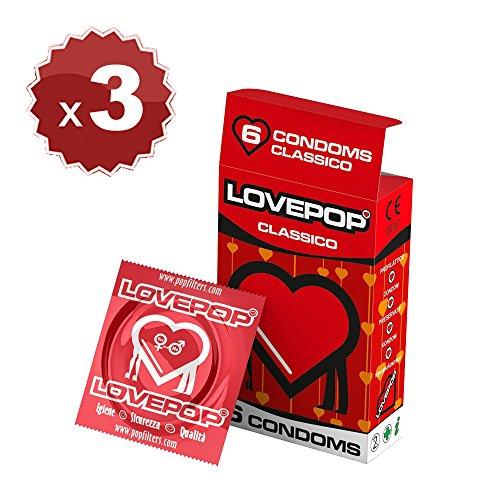 18 preservativos Love Pop, clásico 3 cartones de 6 piezas de condones, preservativos clásicos de diámetro 54 mm, condón… 1 Sexo seguro, condones y contenido erótico | Más de condones