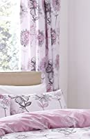 "Watercolour-style Floral Flowers Pink Grey Lined 66"" X 72"" - 168cm X 183cm Ring Top Curtains by Curtains"