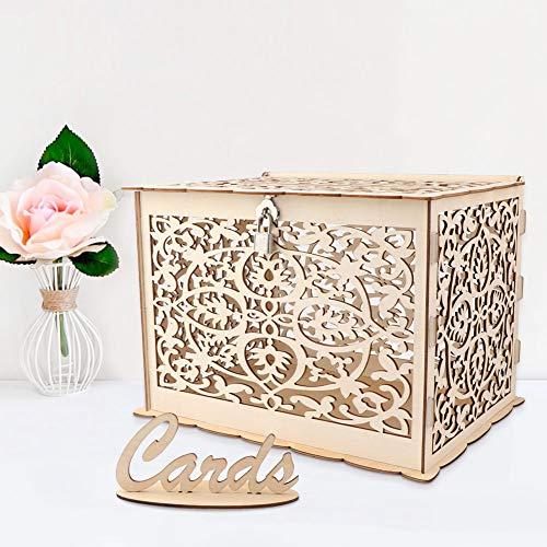 Aparty4u Hochzeitskartenkiste aus Holz mit Schloss, Kollektion Geschenkkartenkästen für Vintage-Hochzeiten Empfänge Geburtstage Schulabschlüsse Baby-Dusche-Dekor, 30 x 24 x 21 cm
