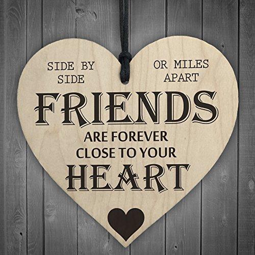 Rot Ocean Friends Are Forever Herz aus Holz zum Aufhängen Freundschaft Geschenk Shabby Chic Wandschild