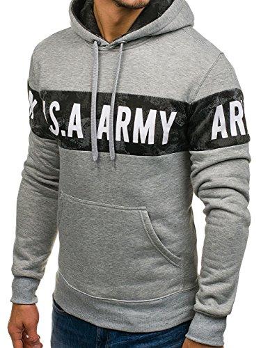 ... BOLF Herren Pullover mit Kapuze Sweatshirt Langarmshirt Sweatjacke  Militär Army Camo Muster 1A1 Grau DD48 ... 5ab727748e