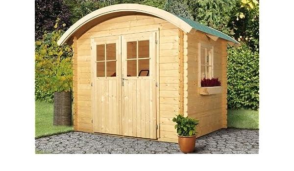 Karibu Gartenhaus Tonnendachhaus 1 Blockbohle 28mm Amazon De Garten