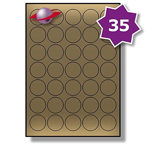 35 Pro Blatt, 25 Blätter, 875 Etiketten. Label Planet® Metallische Gold Runden Papier Etiketten für Laserdrucker 37mm Durchmesser, LP35/37 R LG.