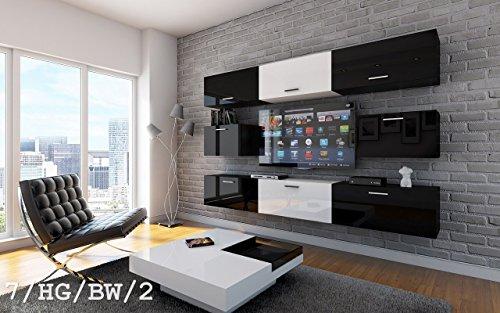 FUTURE 7 Moderne Wohnwand, Exklusive Mediamöbel, TV-Schrank, Neue Garnitur, Große Farbauswahl (RGB LED-Beleuchtung Verfügbar) (7/HG/BW/2, Möbel)