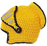 EJY Neuheit römischen Ritter Helm Caps Handgemachte Knit warme Winter-Maske Mützen Kid Partei-Schablone Mützen (große für Papa, gelb)
