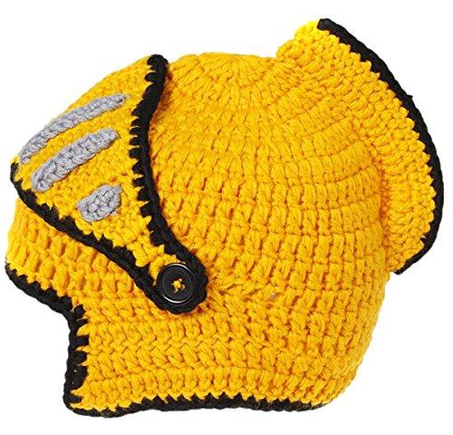 Kleiner Mann-schablonen (EJY Neuheit römischen Ritter Helm Caps Handgemachte Knit warme Winter-Maske Mützen Kid Partei-Schablone Mützen (kleine für Kinder, gelb))