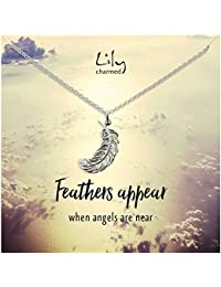 b2eab550502 Lily Charmed - Sterling Silver Large Feather Necklace with