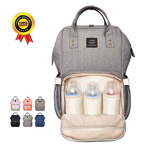 HEYI Baby Wickeltasche Reise Rucksack,Isolierte Tasche, Wasserdicht Stoffe, Multifunktional, Passform für Kinderwage, Große Kapazität Modern Einzigartig Tragbar Handtasche Organizer (Leinen grau)