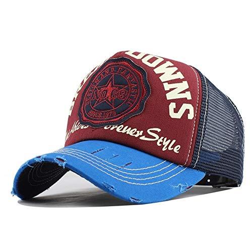Base Kostüm Kopfbedeckung - GZSC Hut Baseballmützensommerhutstickereibuchstabenkappenknochenmädchenhüte for Frauenmänner Fernlastfahrerkappe (Color : Blue Red)