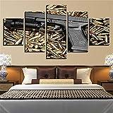 Whian Öl Gemälde Auf Leinwand Für Home Dekoration 100% Handgemalt Modernes Leinwand Wand Art Decor DIY 5 Pcs/Set Coole Pistolenkugel 100x40 80x40 60x40(cm) Rahmenlos