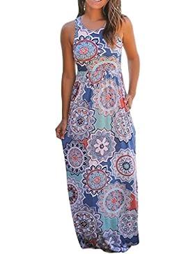 Homebaby® Abiti Lunghi Donna Eleganti - Vintage Estivi Vestiti Casual Donna Con Tasca - Maxi Abito Abiti Donna...